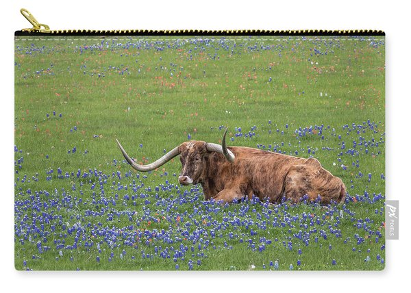 Texas Longhorn And Bluebonnets Carry-all Pouch