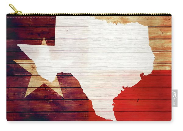 Texas Rustic Map On Wood Carry-all Pouch