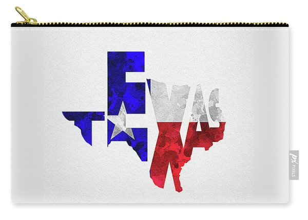 Texas Typographic Map Flag Carry-all Pouch