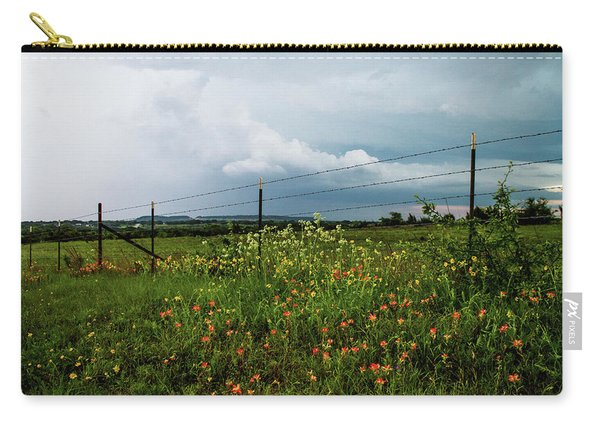 Texas Wildflowers - Vintage Style Photograph Of Central Texas Landscape Carry-all Pouch