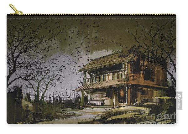 Carry-all Pouch featuring the painting The Abandoned House by Tithi Luadthong