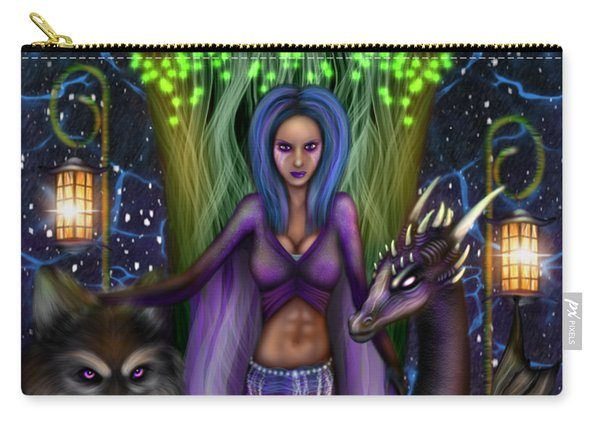 Carry-all Pouch featuring the painting The Animal Goddess Fantasy Art by Raphael Lopez