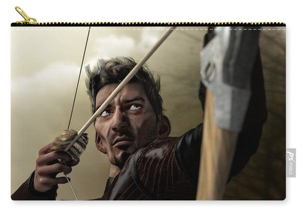 Carry-all Pouch featuring the digital art The Archer by Sandra Bauser Digital Art