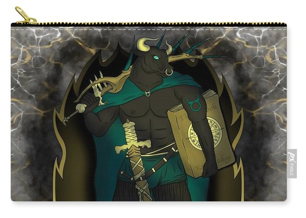 Carry-all Pouch featuring the painting The Bull Taurus Spirit by Raphael Lopez