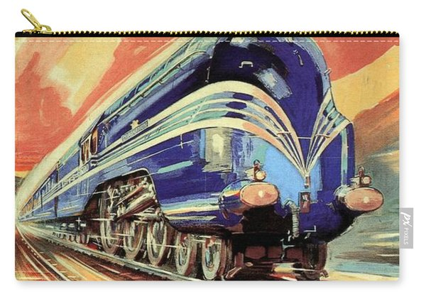 The Coronation Scot - Vintage Blue Locomotive Train - Vintage Travel Advertising Poster Carry-all Pouch