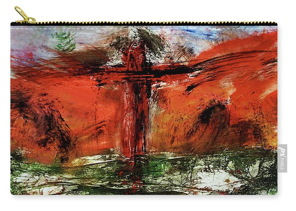 Carry-all Pouch featuring the mixed media The Crucifixion #1 by Michael Lucarelli