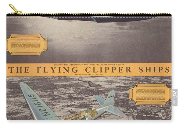 The Flying Clipper Ships - Pan American Airways - Vintage Travel Advertising Poster Carry-all Pouch
