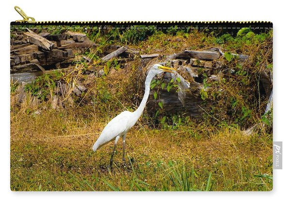 Egret Against Driftwood Carry-all Pouch