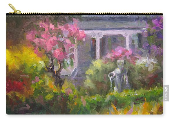 Carry-all Pouch featuring the painting The Guardian - Plein Air Lilac Garden by Talya Johnson