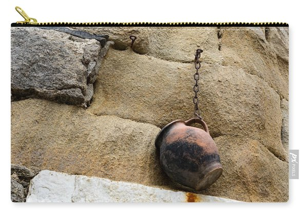 The Hanging Jar - Rough Weathered Stones Rust And Ceramics - A Vertical View Carry-all Pouch