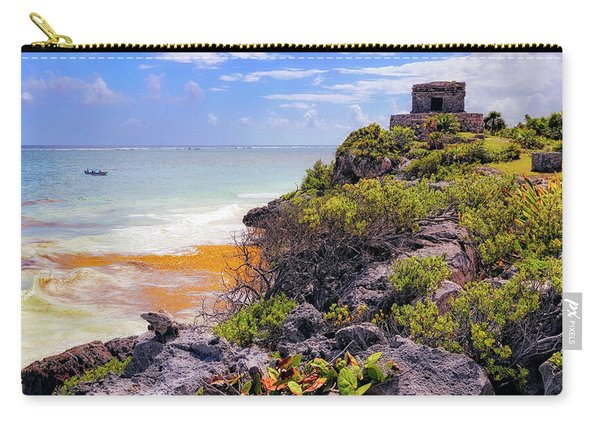 The Iguana And The Temple Of The God Of The Wind - Tulum Mayan Ruins - Mexico Carry-all Pouch