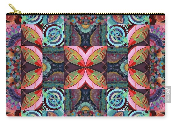 Carry-all Pouch featuring the mixed media The Joy Of Design Mandala Series Puzzle 7 Arrangement 2 by Helena Tiainen