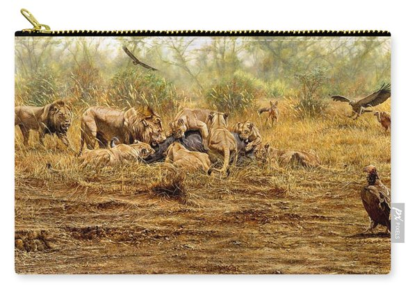 Carry-all Pouch featuring the painting The Kill by Alan M Hunt