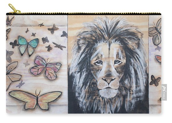 The Lion And The Butterflies Carry-all Pouch