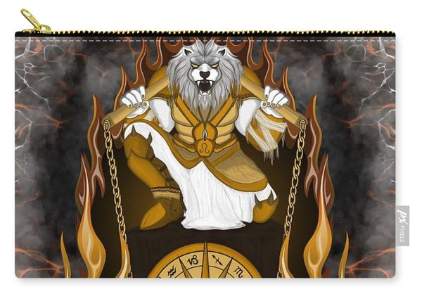 Carry-all Pouch featuring the painting The Lion Leo Spirit by Raphael Lopez
