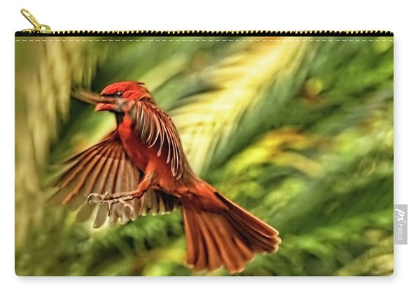 The Male Cardinal Approaches Carry-all Pouch
