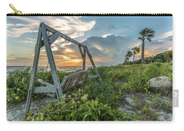 Carry-all Pouch featuring the photograph The Old Beach Swing -  Sullivan's Island, Sc by Donnie Whitaker