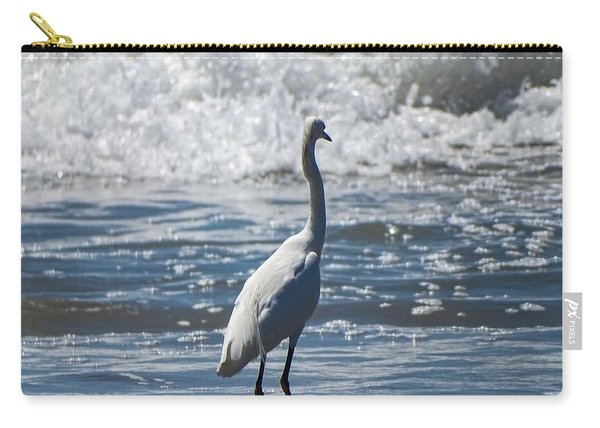Egret And The Waves Carry-all Pouch