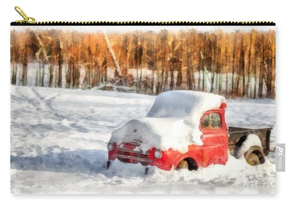The Old Farm Truck In The Snow Carry-all Pouch