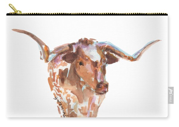 The Original Longhorn Standing Earth Quack Watercolor Painting By Kmcelwaine Carry-all Pouch