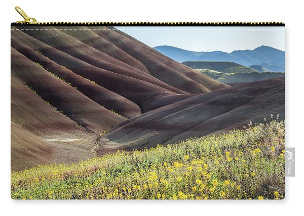 Carry-all Pouch featuring the photograph The Painted Hills In Bloom by Tim Newton