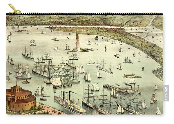 The Port Of New York, Birds Eye View From The Battery, Looking South, Circa 1892 Carry-all Pouch