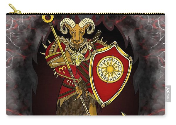 Carry-all Pouch featuring the painting The Ram Aries Spirit by Raphael Lopez