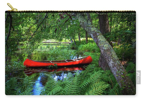 The Red Canoe On The Lake Carry-all Pouch