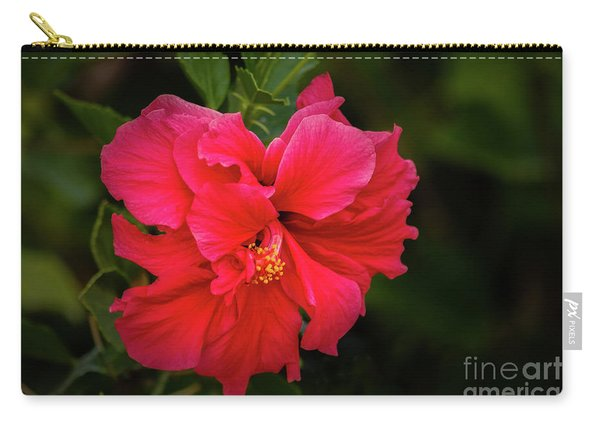 The Red Double Hibiscus Carry-all Pouch
