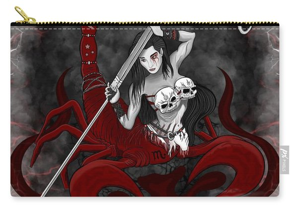 Carry-all Pouch featuring the painting The Scorpion Scorpio Spirit by Raphael Lopez