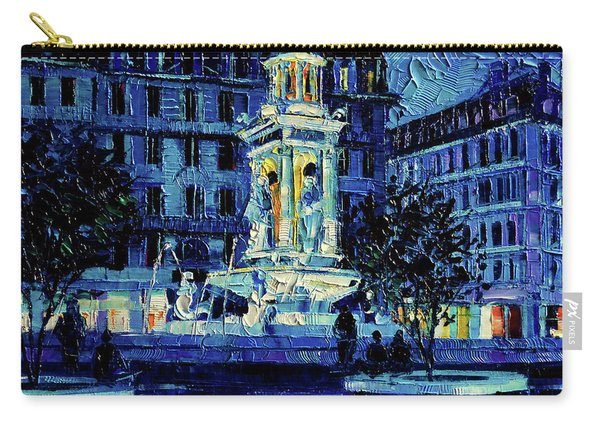 The Square Of Jacobins Illuminated - Lyon France - Modern Impressionist Palette Knife Painting Carry-all Pouch