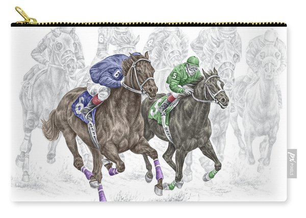 The Thunder Of Hooves - Horse Racing Print Color Carry-all Pouch