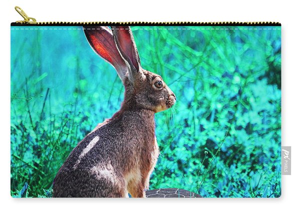 The Tortoise And The Hare . Cyan Square Carry-all Pouch