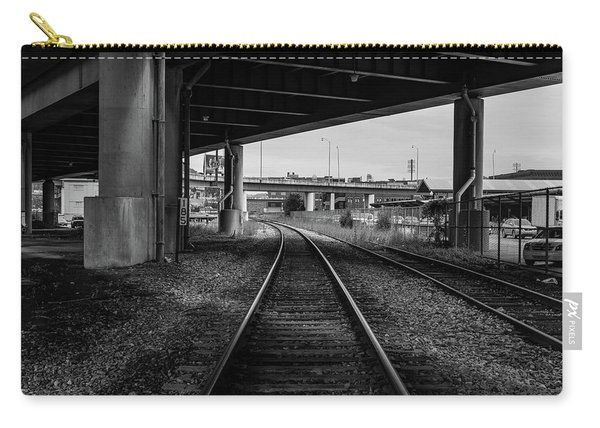 Carry-all Pouch featuring the photograph The Tracks And The Overpass by Break The Silhouette