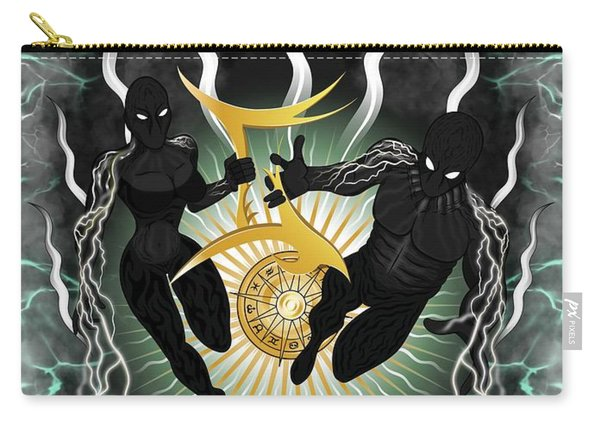 Carry-all Pouch featuring the painting The Twins Gemini Spirits by Raphael Lopez