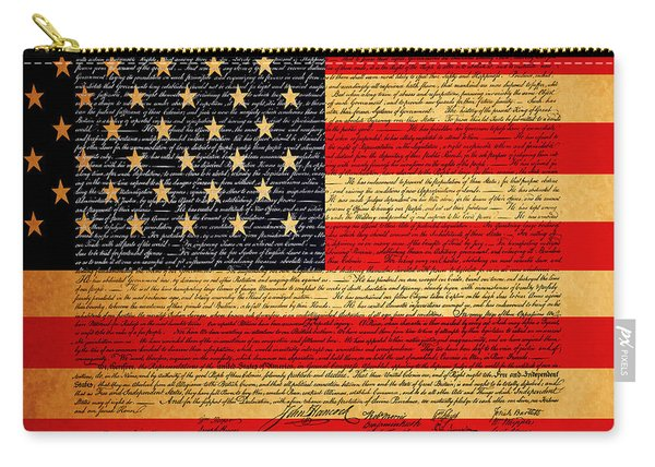 The United States Declaration Of Independence - American Flag - Square Carry-all Pouch