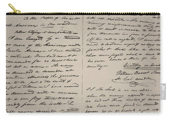 The Victory Of Death Letter Written By The Alamo Commander William Barret Travis, 1836  Carry-all Pouch