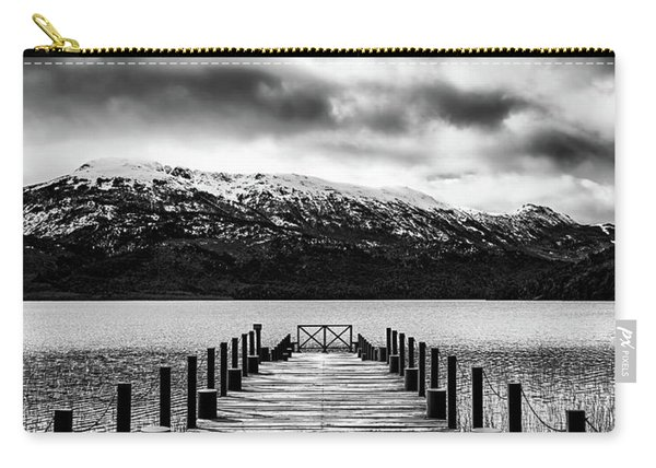 Landscape With Lake And Snowy Mountains In The Argentine Patagonia - Black And White Carry-all Pouch