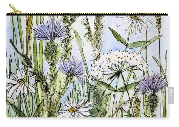 Thistles Daisies And Wildflowers Carry-all Pouch
