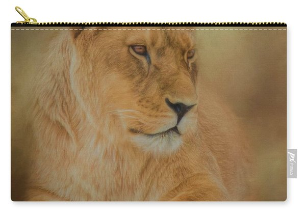 Thoughtful Lioness - Square Carry-all Pouch