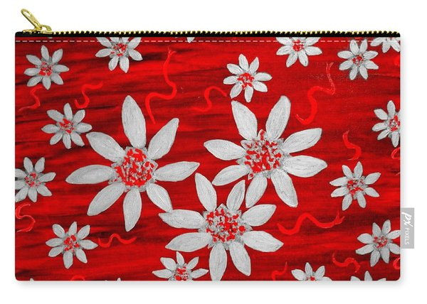 Three And Twenty Flowers On Red Carry-all Pouch