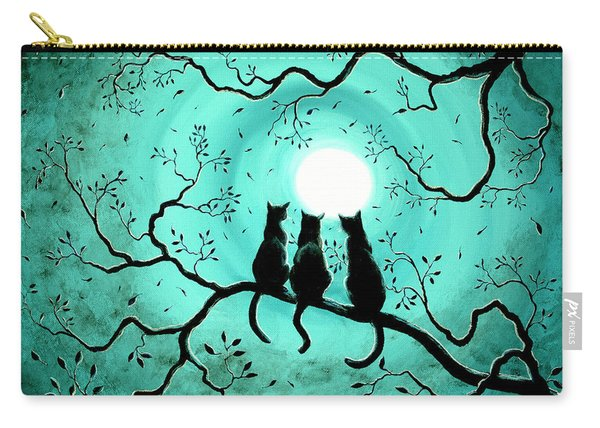 Three Black Cats Under A Full Moon Carry-all Pouch