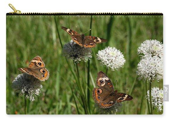 Three Buckeye Butterflies On Wildflowers Carry-all Pouch