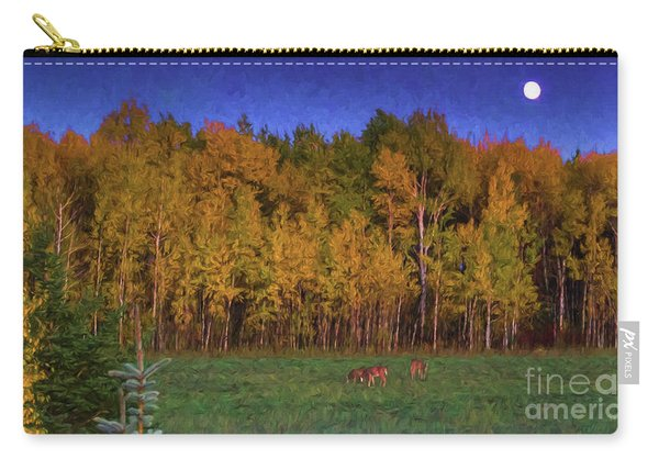 Three Deer And A Moon Carry-all Pouch