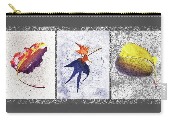 Three Fall Leaves Autumn Trio  Carry-all Pouch