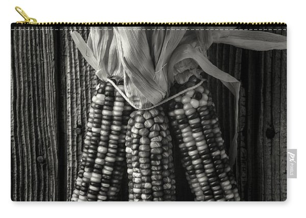 Three Indian Corn In Black And White Carry-all Pouch