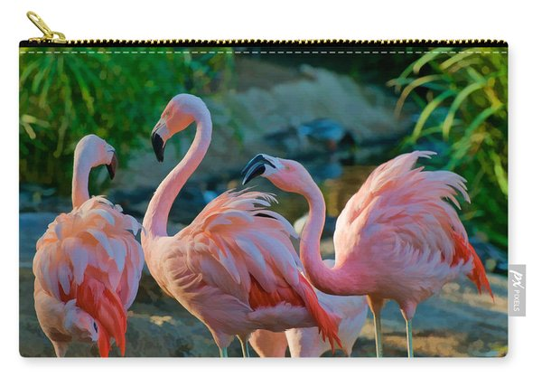 Three Pink Flamingos Strutting Their Stuff Carry-all Pouch