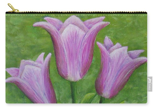 Carry-all Pouch featuring the painting Three Pink Tulips by Nancy Nale