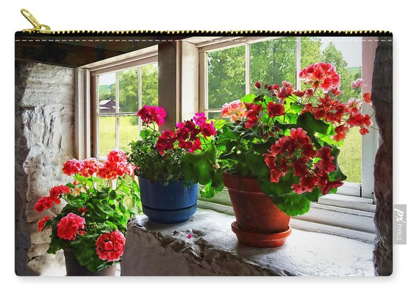 Three Pots Of Geraniums On Windowsill Carry-all Pouch