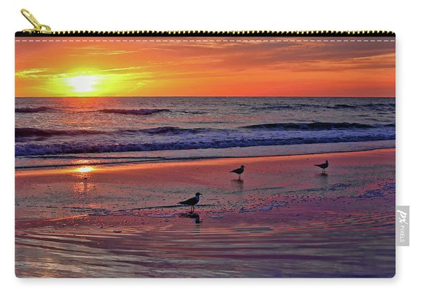 Three Seagulls On A Sunset Beach Carry-all Pouch